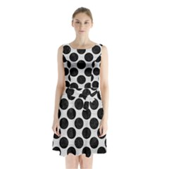 Circles2 Black Marble & White Leather Sleeveless Waist Tie Chiffon Dress