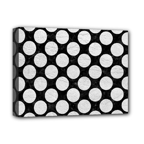 Circles2 Black Marble & White Leather (r) Deluxe Canvas 16  X 12