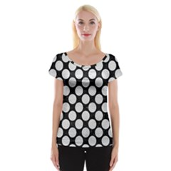 Circles2 Black Marble & White Leather (r) Cap Sleeve Tops