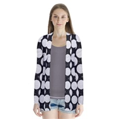 Circles2 Black Marble & White Leather (r) Drape Collar Cardigan