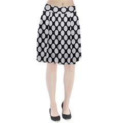 Circles2 Black Marble & White Leather (r) Pleated Skirt