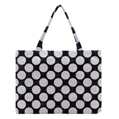 Circles2 Black Marble & White Leather (r) Medium Tote Bag