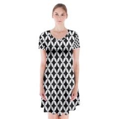 Circles3 Black Marble & White Leather (r) Short Sleeve V Neck Flare Dress