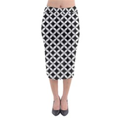Circles3 Black Marble & White Leather (r) Midi Pencil Skirt