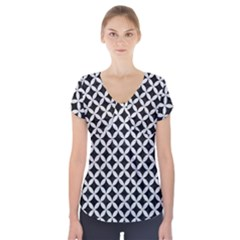 Circles3 Black Marble & White Leather (r) Short Sleeve Front Detail Top