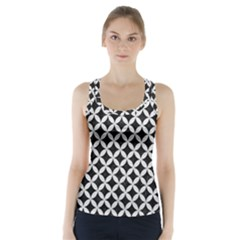 Circles3 Black Marble & White Leather (r) Racer Back Sports Top