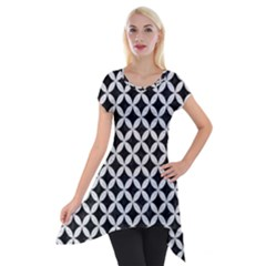 Circles3 Black Marble & White Leather (r) Short Sleeve Side Drop Tunic