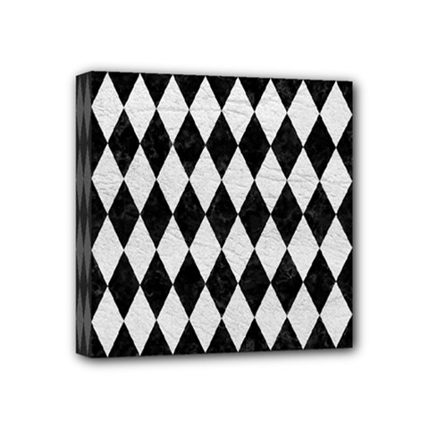 Diamond1 Black Marble & White Leather Mini Canvas 4  X 4