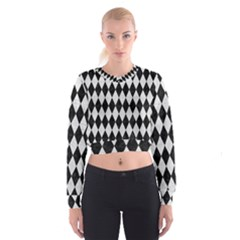 Diamond1 Black Marble & White Leather Cropped Sweatshirt