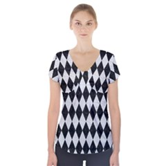 Diamond1 Black Marble & White Leather Short Sleeve Front Detail Top