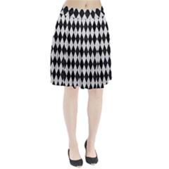 Diamond1 Black Marble & White Leather Pleated Skirt