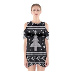 Ugly Christmas Sweater Shoulder Cutout One Piece