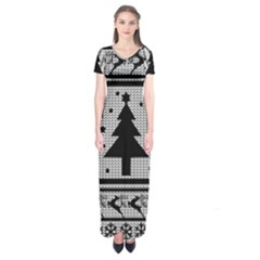 Ugly Christmas Sweater Short Sleeve Maxi Dress