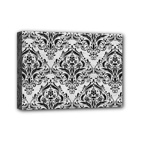 Damask1 Black Marble & White Leather Mini Canvas 7  X 5