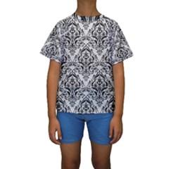 Damask1 Black Marble & White Leather Kids  Short Sleeve Swimwear