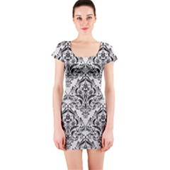 Damask1 Black Marble & White Leather Short Sleeve Bodycon Dress