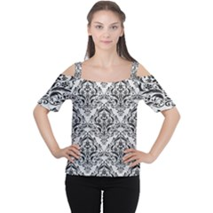 Damask1 Black Marble & White Leather Cutout Shoulder Tee