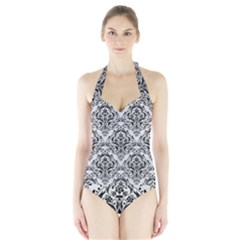 Damask1 Black Marble & White Leather Halter Swimsuit