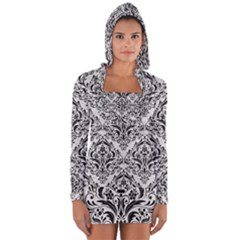 Damask1 Black Marble & White Leather Long Sleeve Hooded T Shirt