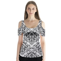 Damask1 Black Marble & White Leather Butterfly Sleeve Cutout Tee
