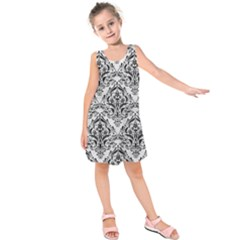 Damask1 Black Marble & White Leather Kids  Sleeveless Dress