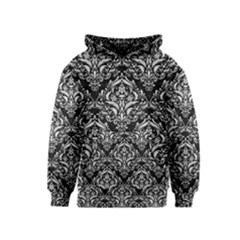 Damask1 Black Marble & White Leather (r) Kids  Pullover Hoodie