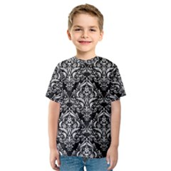 Damask1 Black Marble & White Leather (r) Kids  Sport Mesh Tee