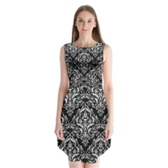 Damask1 Black Marble & White Leather (r) Sleeveless Chiffon Dress