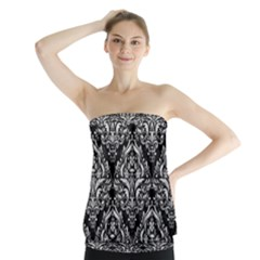 Damask1 Black Marble & White Leather (r) Strapless Top