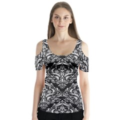 Damask1 Black Marble & White Leather (r) Butterfly Sleeve Cutout Tee