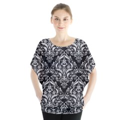 Damask1 Black Marble & White Leather (r) Blouse