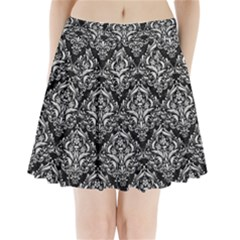 Damask1 Black Marble & White Leather (r) Pleated Mini Skirt