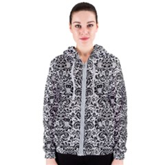 Damask2 Black Marble & White Leather Women s Zipper Hoodie