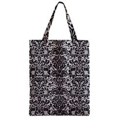 Damask2 Black Marble & White Leather Zipper Classic Tote Bag