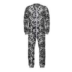 Damask2 Black Marble & White Leather Onepiece Jumpsuit (kids)