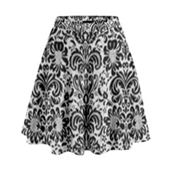 Damask2 Black Marble & White Leather High Waist Skirt