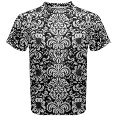 Damask2 Black Marble & White Leather (r) Men s Cotton Tee