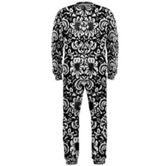 Damask2 Black Marble & White Leather (r) Onepiece Jumpsuit (men)