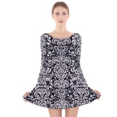Damask2 Black Marble & White Leather (r) Long Sleeve Velvet Skater Dress