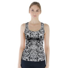 Damask2 Black Marble & White Leather (r) Racer Back Sports Top