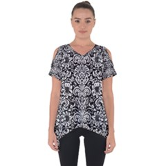 Damask2 Black Marble & White Leather (r) Cut Out Side Drop Tee
