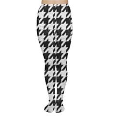 Houndstooth1 Black Marble & White Leather Women s Tights