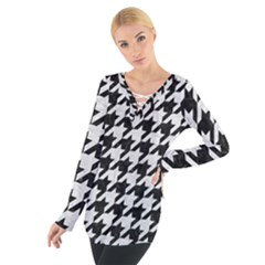 Houndstooth1 Black Marble & White Leather Tie Up Tee