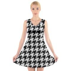 Houndstooth1 Black Marble & White Leather V Neck Sleeveless Skater Dress