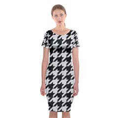 Houndstooth1 Black Marble & White Leather Classic Short Sleeve Midi Dress