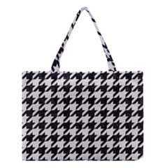 Houndstooth1 Black Marble & White Leather Medium Tote Bag