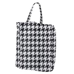 Houndstooth1 Black Marble & White Leather Giant Grocery Zipper Tote
