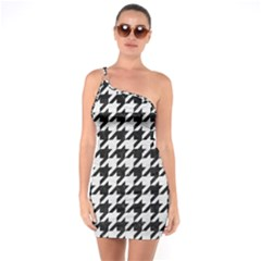 Houndstooth1 Black Marble & White Leather One Soulder Bodycon Dress