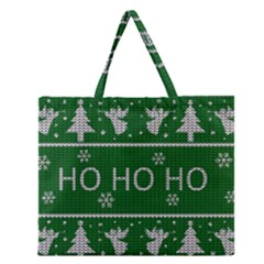 Ugly Christmas Sweater Zipper Large Tote Bag