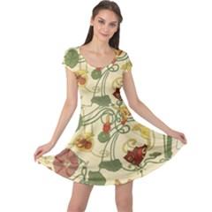 Floral Art Nouveau Cap Sleeve Dress